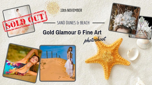 Gold Glamour & Fine Art Photoshoot on Sand dunes and Beach